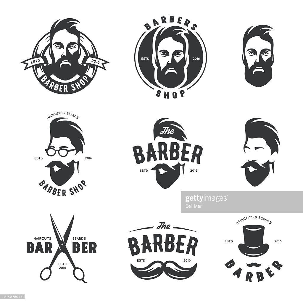 Set of vintage barber shop vector emblems, label, badges and