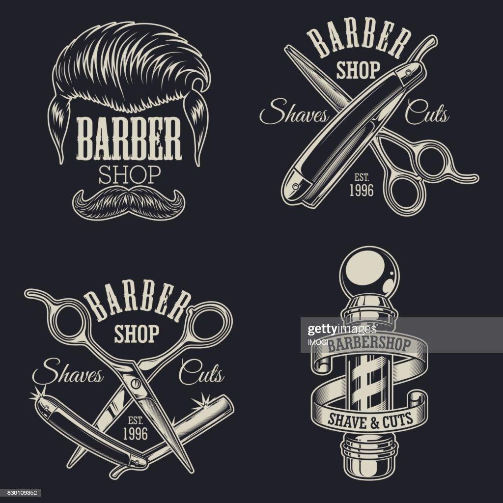 Set of vintage barbershop emblems