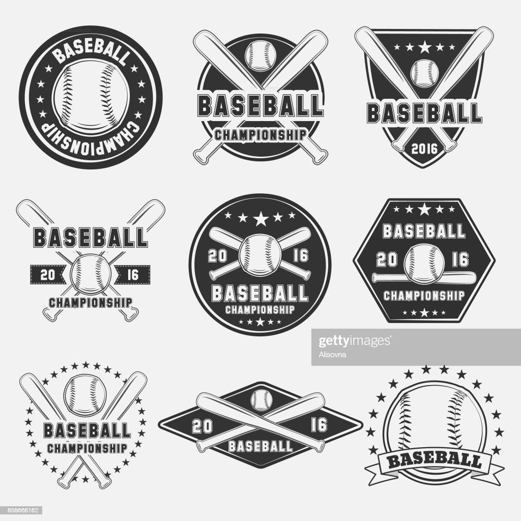 Set of vintage baseball icon
