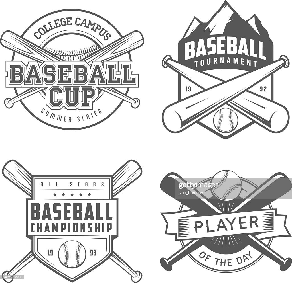 Set of vintage baseball labels and badges
