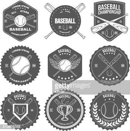 set of vintage baseball labels and badges vector art | thinkstock