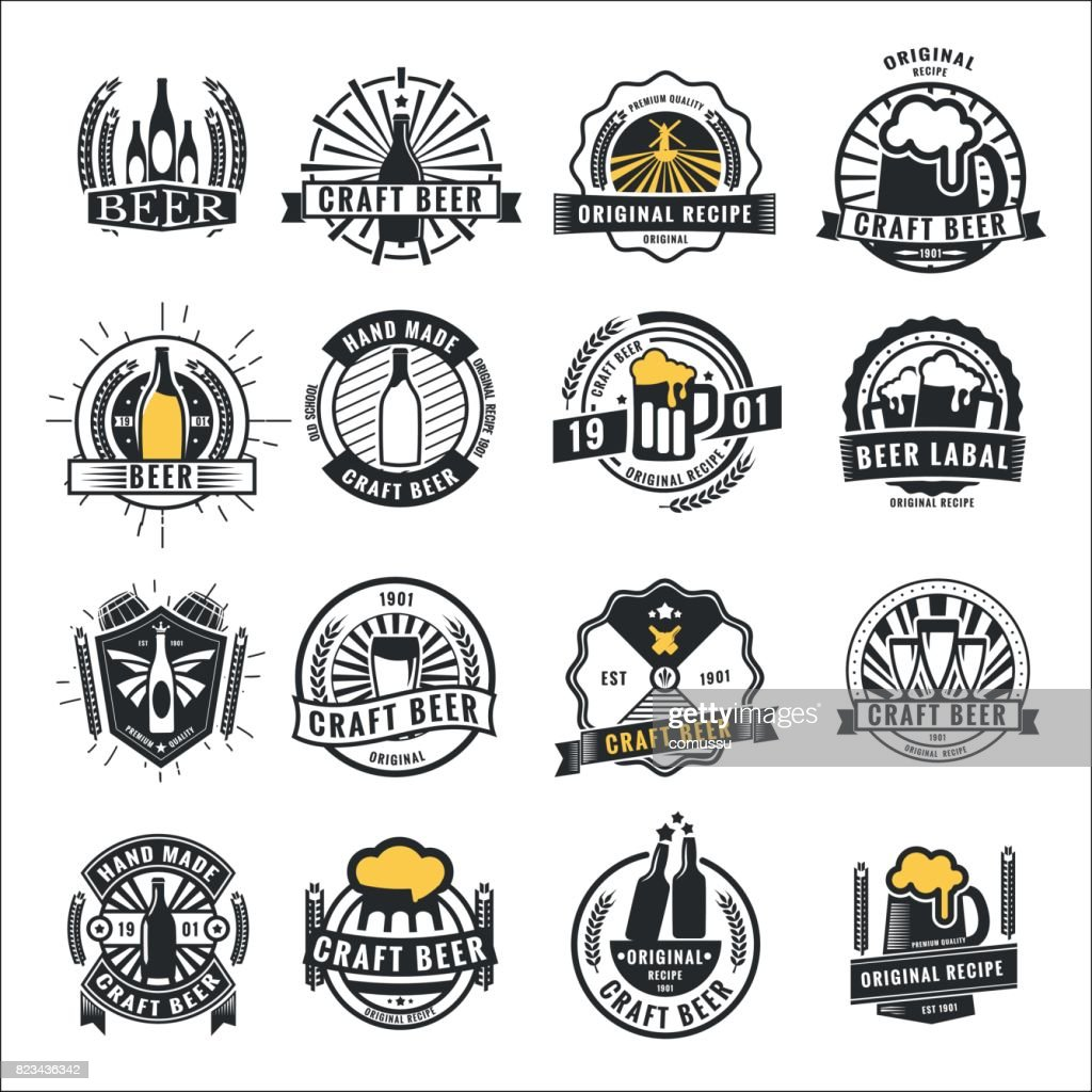 Set of vintage beer badge icon,  and labels template design.Vector illustration.