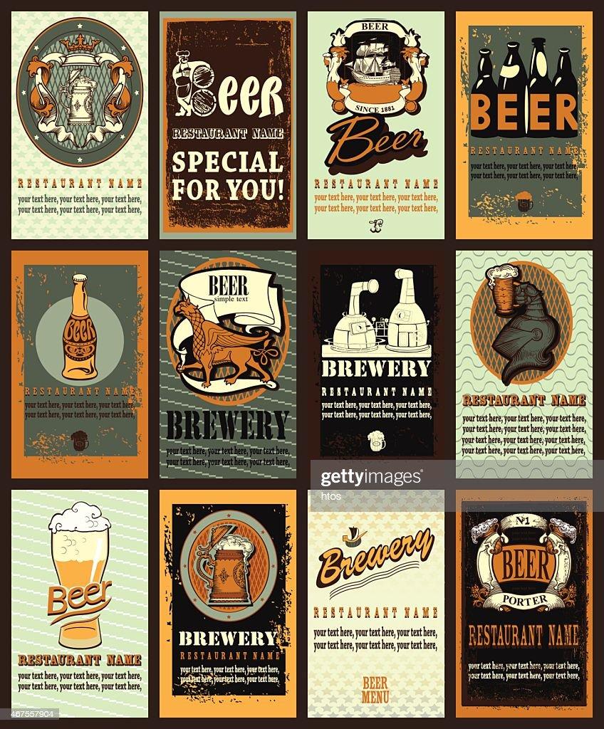 Set of vintage beer labels design.