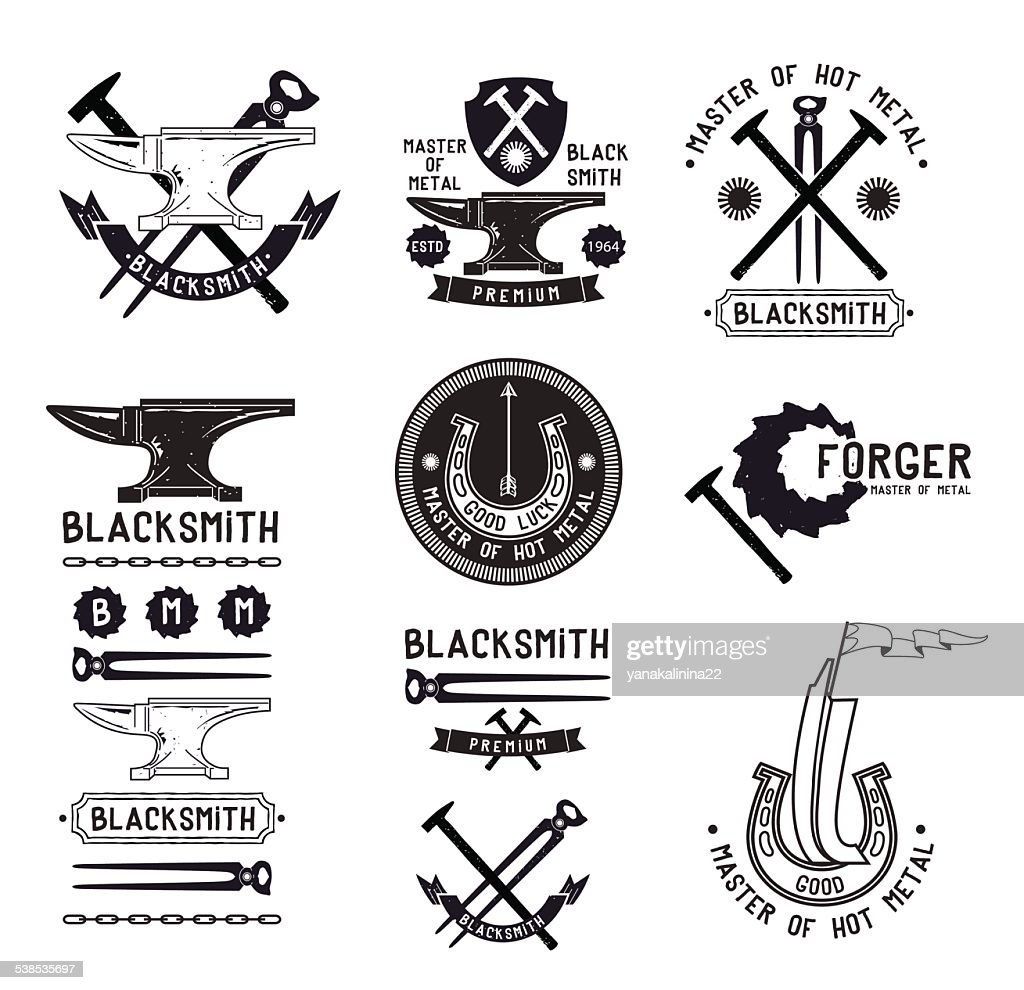 Set of vintage blacksmith logo, labels and design elements