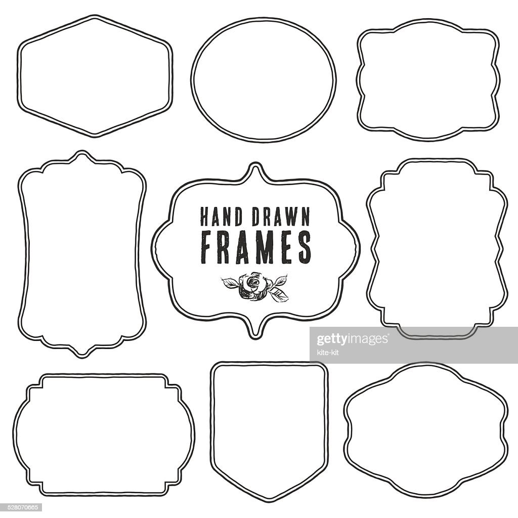 Set of vintage blank frames and labels.