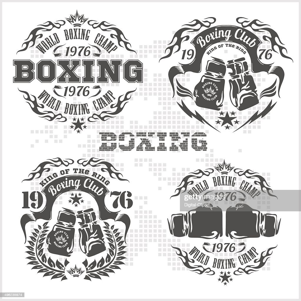 Set of vintage boxing emblems, labels, badges, logos and designed
