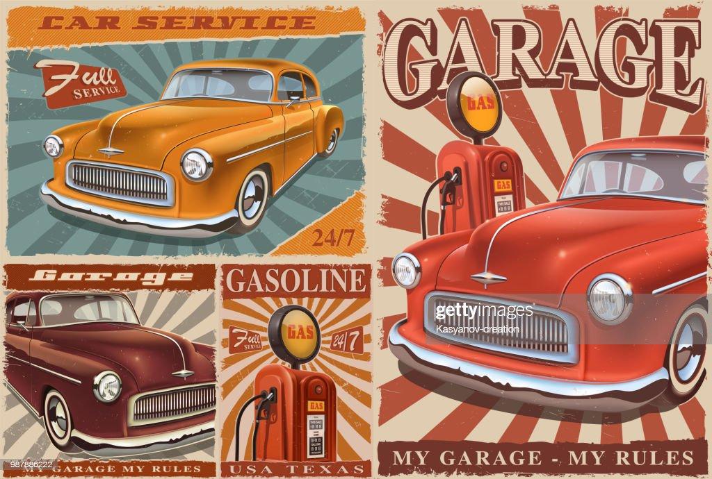 Set of Vintage Car Posters