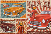 Set of Vintage Car Posters