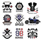 Set of vintage Car races and service logo and design elements