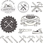Set of vintage carpentry tool elements and labels