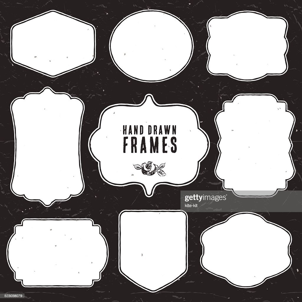Set of vintage chalk frames and labels.