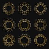 Set of Vintage Circle Frames. Vector illustration.