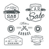 Set of vintage, classic car services labels isolated on white