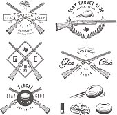 Set of vintage clay target labels, emblems, design elements