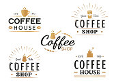 Set of vintage Coffee logo templates, badges and design elements. Logotypes collection for coffee shop, cafe, restaurant.