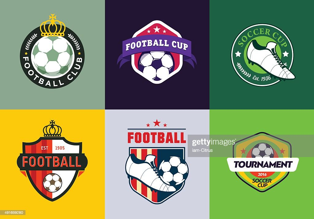 Set of vintage color football soccer championship logos and badges