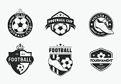 Set of vintage color football soccer championship logos and badges