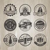 Set of vintage craft beer labels and emblems.