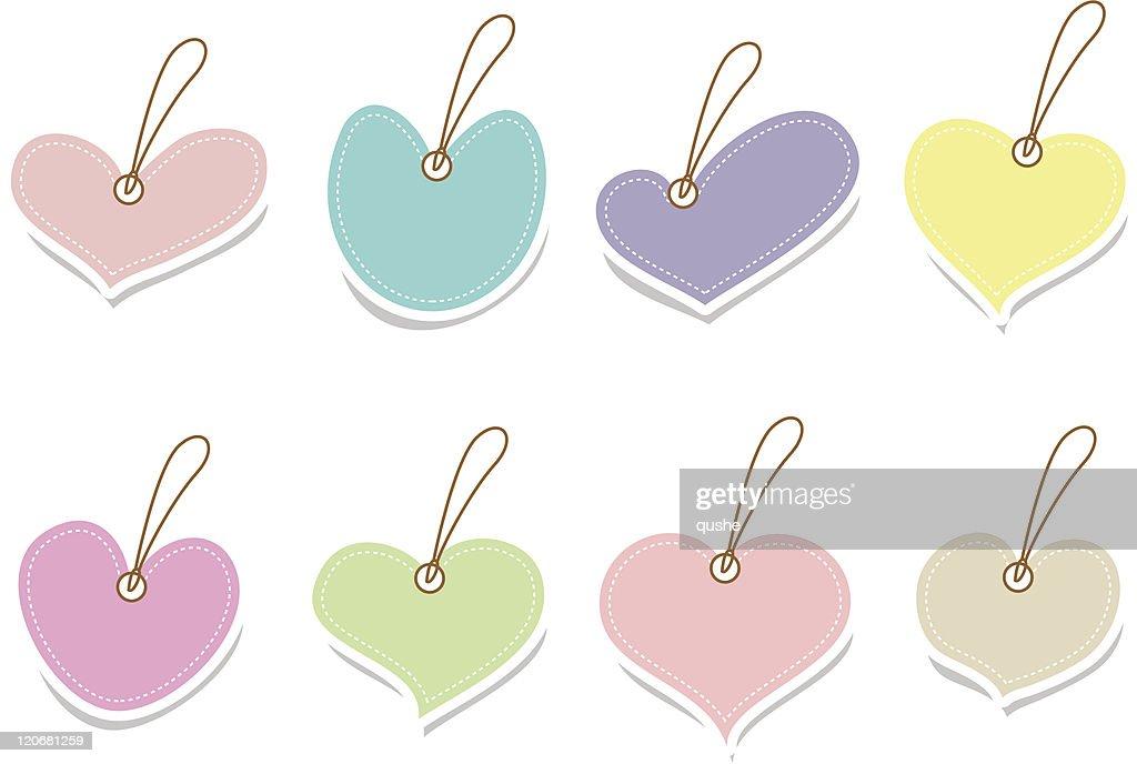 Set of vintage cute labels in heart shape