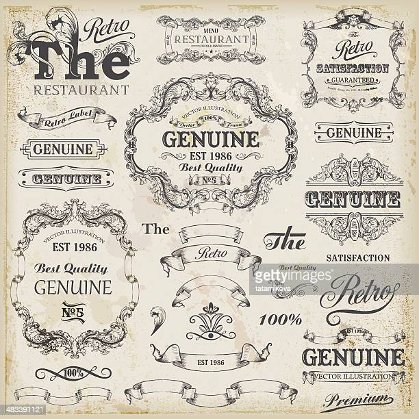 set of vintage design elements with text placements. - antique stock illustrations
