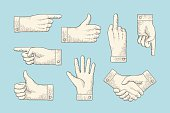Set of vintage drawing hand signs in engraving style