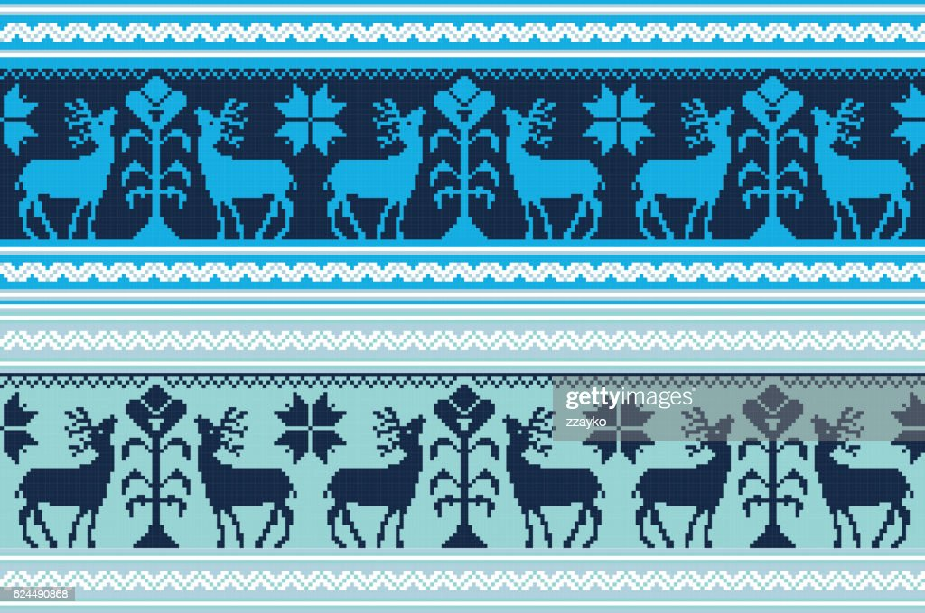 Set of vintage ethnic holiday ornament pattern in different colors
