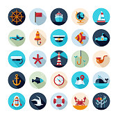 Set of vintage flat design modern nautical, marine icons
