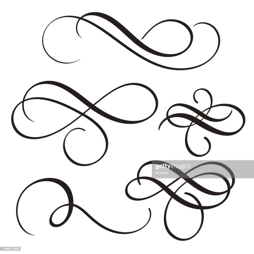 set of vintage flourish decorative art calligraphy whorls for text. Vector illustration EPS10