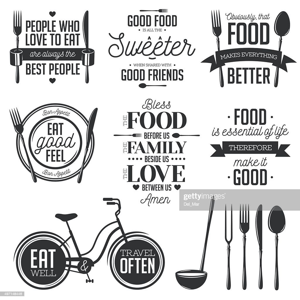Set of vintage food related typographic quotes. Vector illustration.