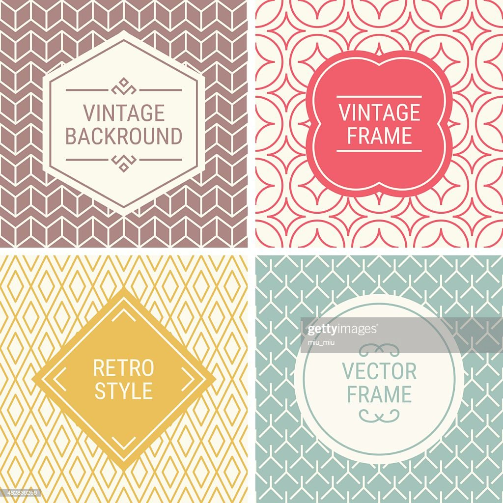 Set of vintage frames on mono line seamless background