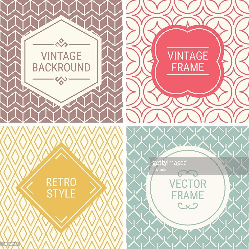 Set of vintage frames on mono line seamless background