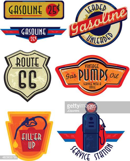 set of vintage gas bar signs - fuel pump stock illustrations, clip art, cartoons, & icons
