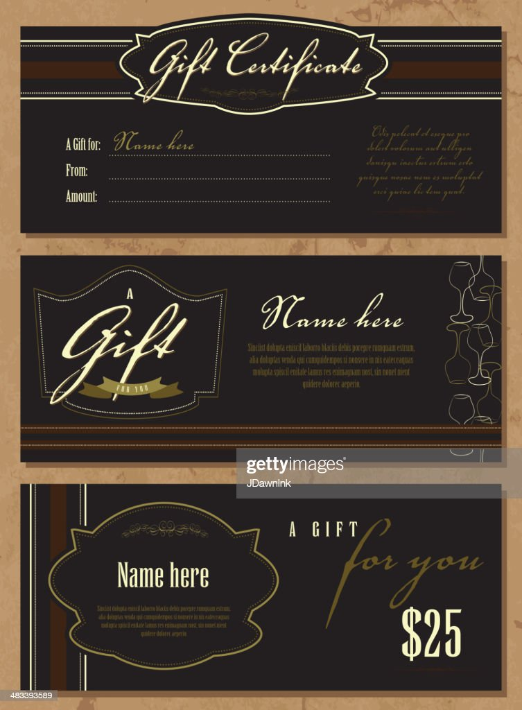 Set Of Vintage Gift Certificate Design Templates Vector Art Getty