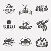set of vintage hand drawn outdoor adventure badges and labels