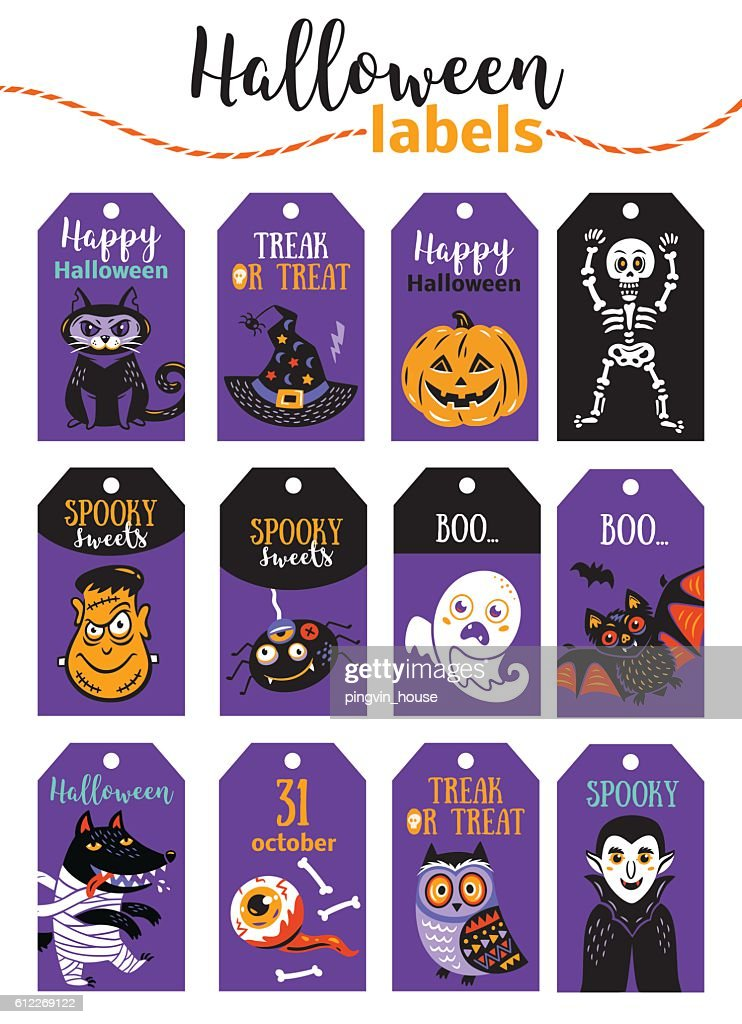 Set of vintage Happy Halloween badges and labels. Cartoon design.