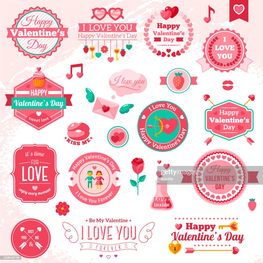 Set Of Vintage Happy Valentine's Day badges and label