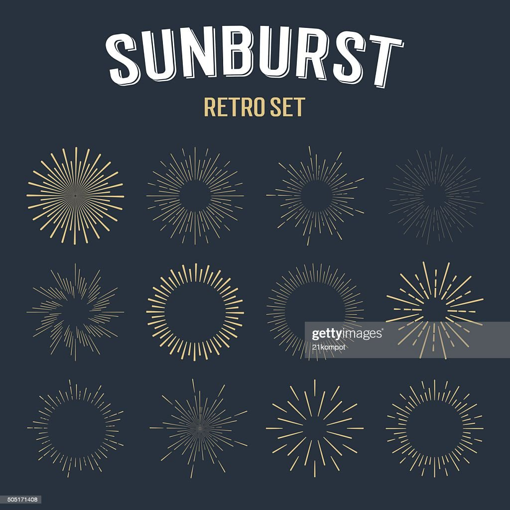 Set of  vintage hipster linear sunbursts.