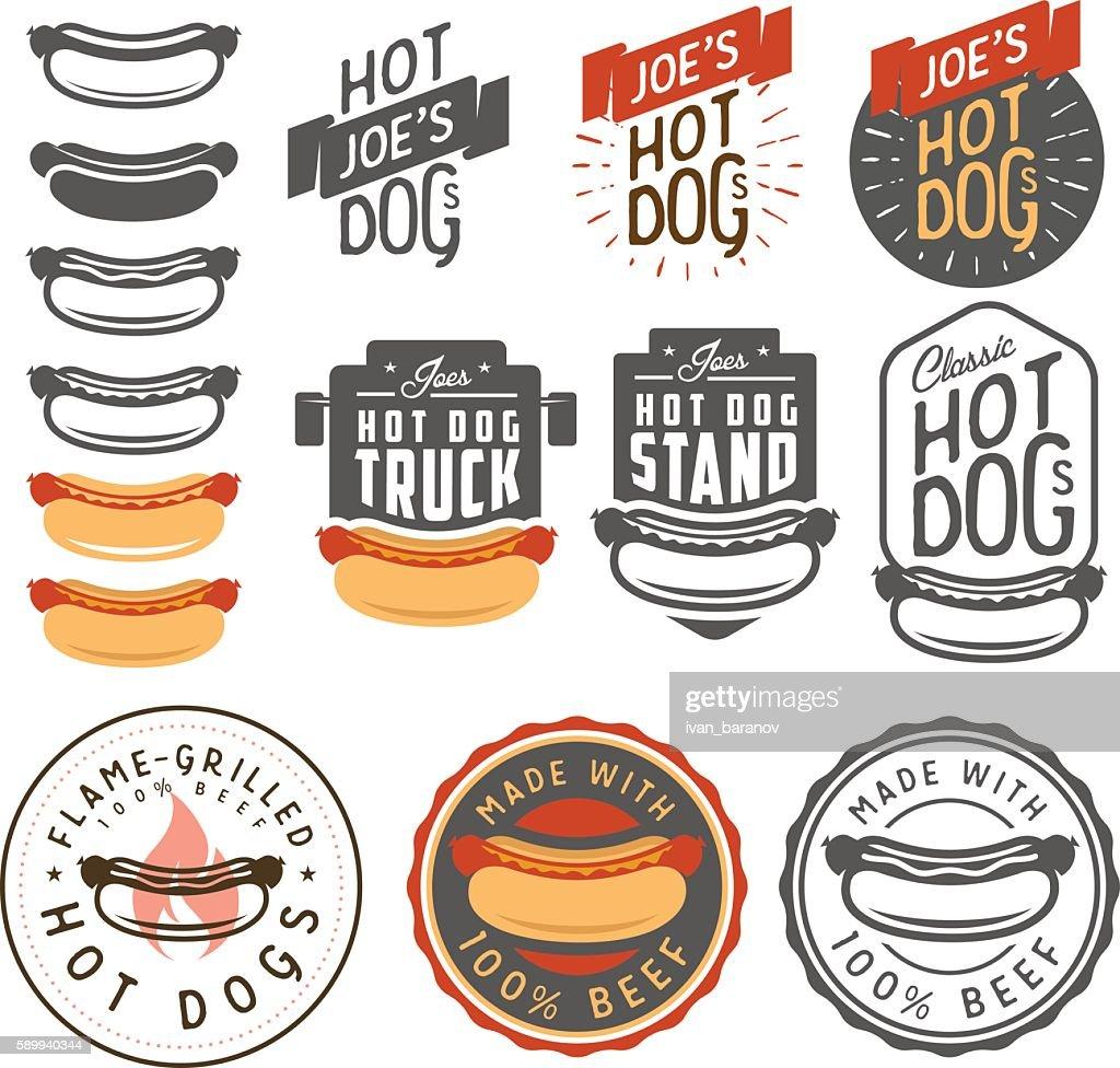 Set of vintage hot dog labels, emblems and design elements