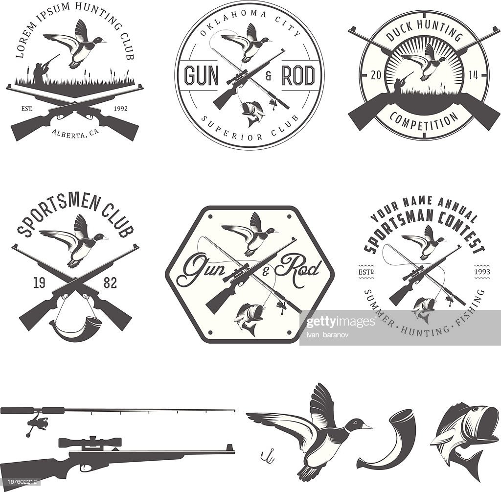 Set of vintage hunting and fishing design elements