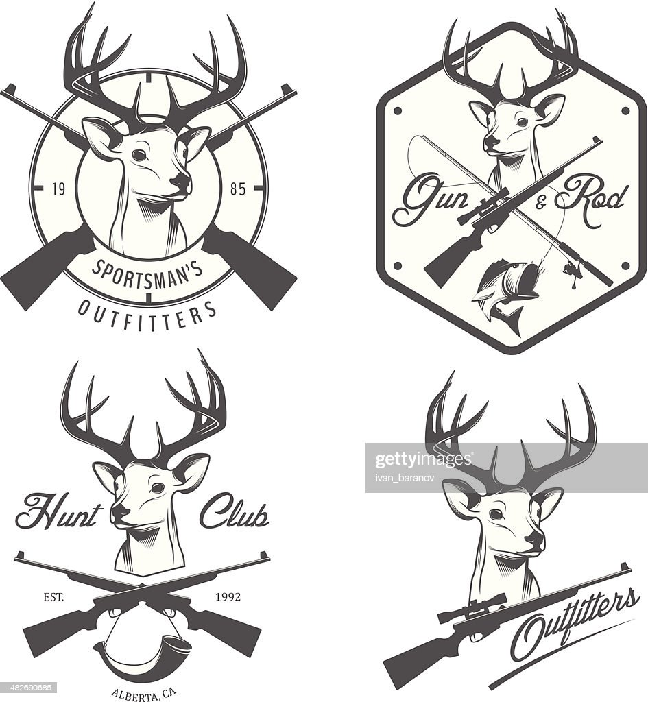 Set of vintage hunting and fishing labels, badges