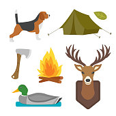 Set of vintage hunting symbols camping objects design elements flat style hunter weapons and forest wild animals and other outfit isolated vector illustration