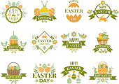 Set of vintage labels and badges of easter theme