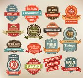 A set of vintage labels and ribbons