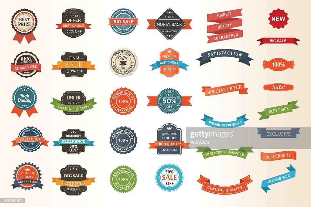Set of vintage Labels, Ribbons, Sticker and Badges