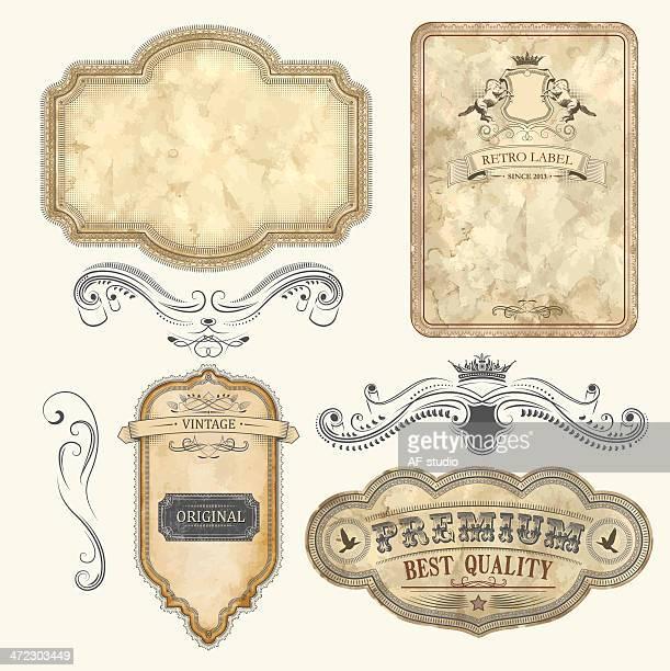 ilustrações de stock, clip art, desenhos animados e ícones de conjunto de etiquetas vintage - pergaminho