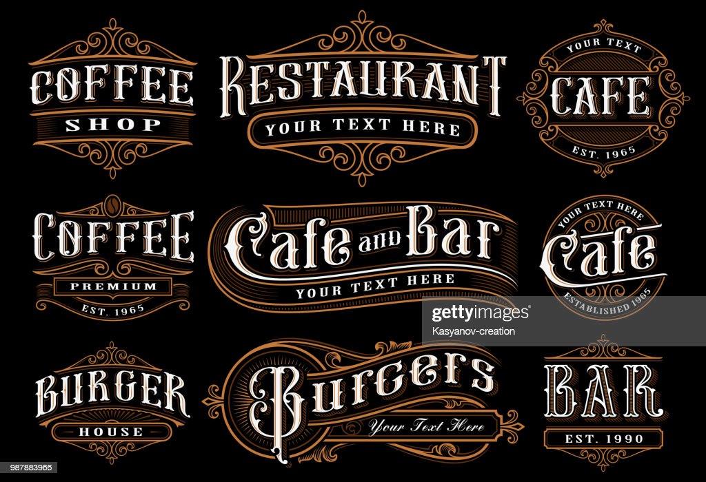 Set of vintage lettering illustration for the catering