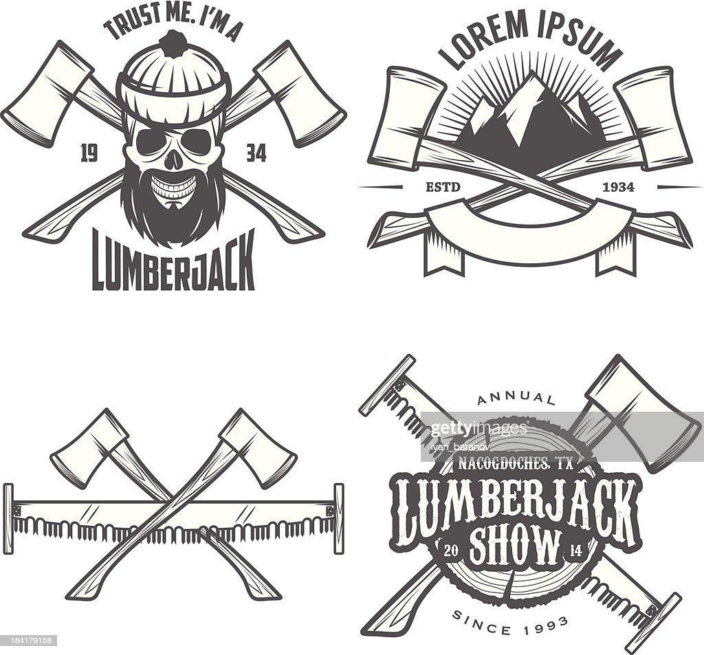Set of vintage lumberjack labels, emblems and design elements