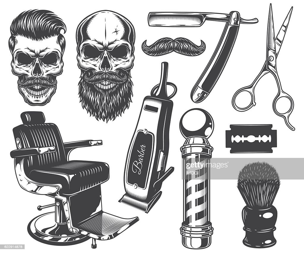 Set of vintage monochrome barber tools and elements.