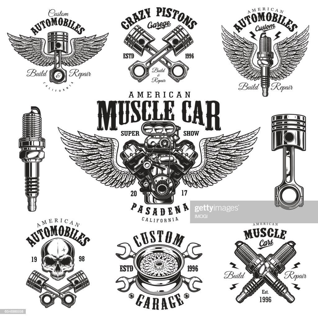 Set of vintage monochrome car repair emblems