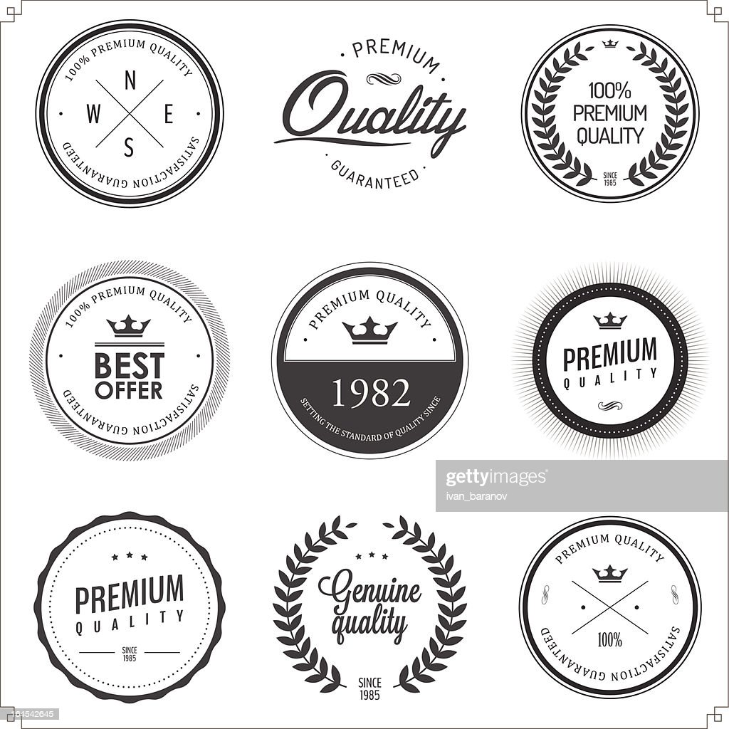 Set of vintage monochrome retail labels and badges